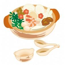 手绘砂锅食物元素素材