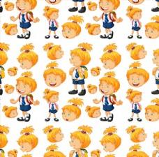 黄头发的卡通小孩动作头像集合