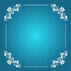 欧式淡雅蓝色矢量花纹边框背景图片