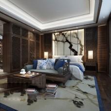 中式风格水墨梅花背景卧室效果图