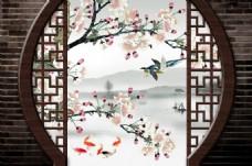3D立体高清手绘花鸟鱼背景墙壁画墙画