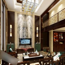 高端奢华现代客厅模型素材