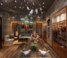 中式时尚休息区大厅