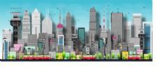 时尚扁平立体城市建筑