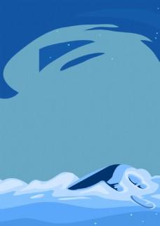 手绘卡通海浪背景