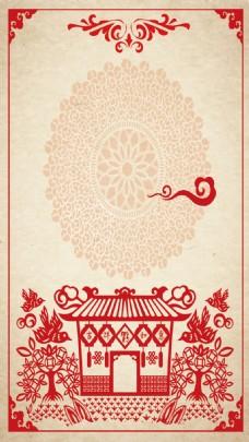 中国风红色春节花纹H5背素材