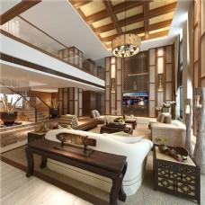 3D中式客厅别墅3D渲染效果图