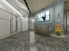 个性地板大厅3d渲染效果图