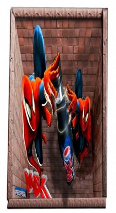 3D蜘蛛侠墙贴纸卡通背景墙