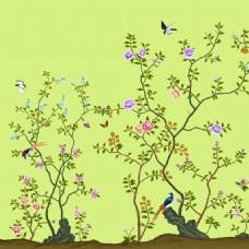 花鸟花纹室内瓷砖背景墙
