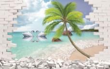 3D水晶之恋夏威夷海岸风光背景墙