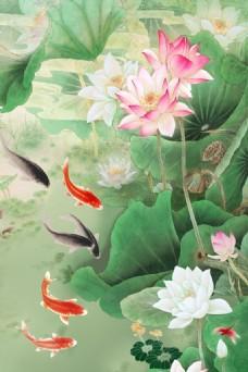 五鱼嬉戏玉石瓷砖背景墙