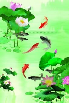荷花锦鲤瓷砖高清背景墙