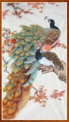 孔雀上树瓷砖高清背景墙