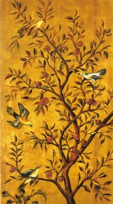 花鸟瓷砖背景墙带路径