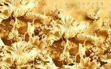 白玉莲花浮雕瓷砖高清背景墙
