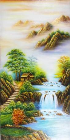 浮雕山水画瓷砖背景墙带路径