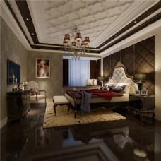 现代风格卧室3D渲染图