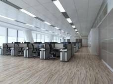 现代办公实木木地板3D渲染图