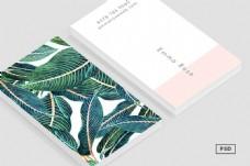 墨绿色叶子水彩国外创意名片卡片设计