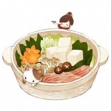 香菇豆腐食物砂锅素材图片