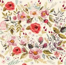 花卉水彩装饰矢量素材