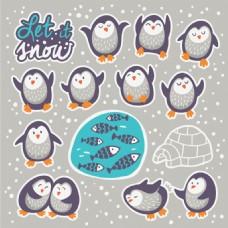 可爱企鹅卡通动物造型矢量素材