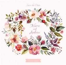礼盒水彩花卉装饰矢量素材