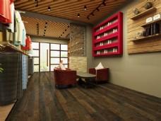 简约欧式深粽色木地板3D渲染