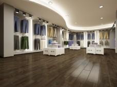 现代简约暗色木地板3D效果图