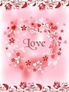 粉色花纹花朵love移门装饰画