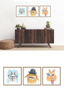 北欧极简风可爱兔子水彩画装饰画