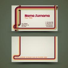 红色简洁边框商务名片样式矢量素材
