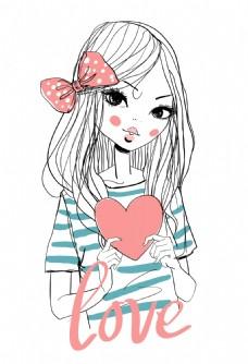 可爱蝴蝶结卡通女孩卡通装饰素材