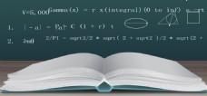 矢量卡通摊开书本数学公式教育黑板海