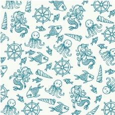 手绘卡通鱼花纹背景图