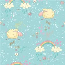 美羊羊彩虹花纹背景图
