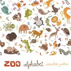 卡通动物插画花纹背景图