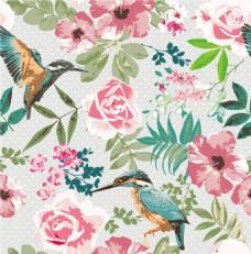 鸟语花香花朵花纹背景图