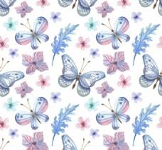 蓝色蝴蝶花纹背景图