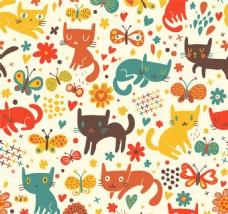 卡通可爱动物花纹背景图