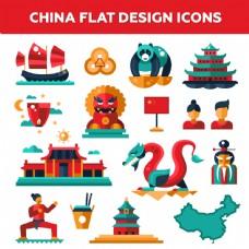 矢量中国平面设计图标