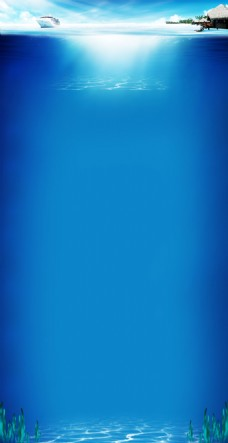 简约蓝色大海背景