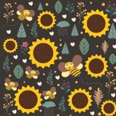 卡通手绘向日葵蜜蜂背景图片