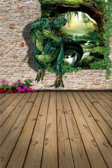 3D立体鳄鱼出水背景墙墙画壁画