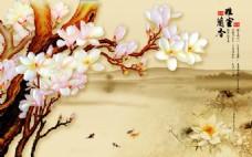 玉兰莲花室内瓷砖背景墙