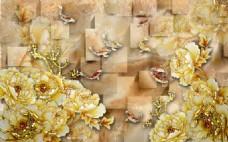 金牡丹室内瓷砖背景墙