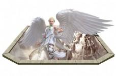 3D羽毛动漫天使卡通飞翔翅膀背景墙