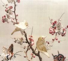 蝴蝶腊梅刺绣背景墙素材