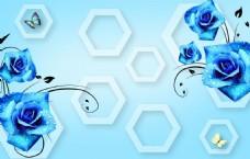 蓝色3D玫瑰电视背景墙效果设计